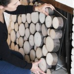 Hidden Storage Behind Faux Wood Pile