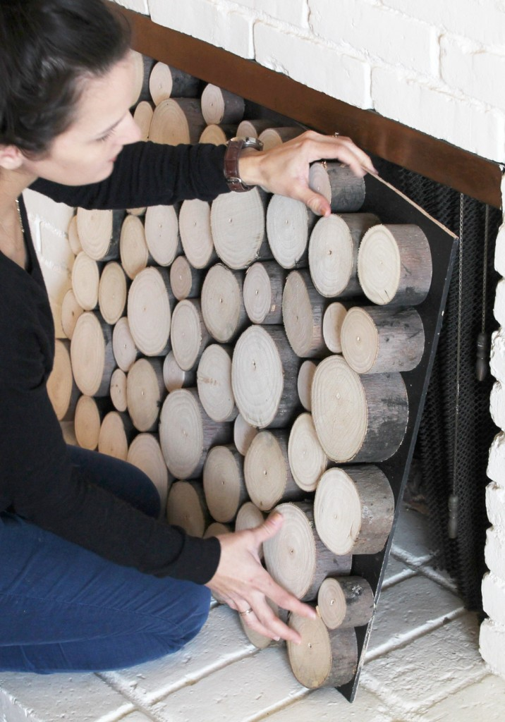 DIY Faux Wood Pile in Fireplace