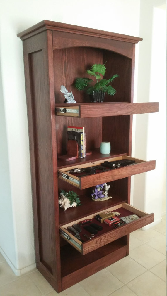 Bookcase with Secret Compartment Drawers
