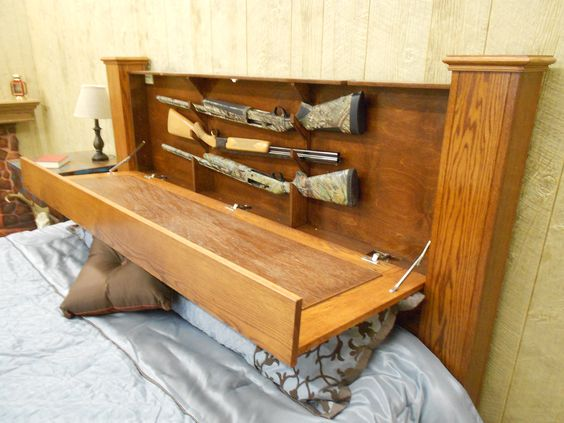 Hidden Long Gun Storage Headboard