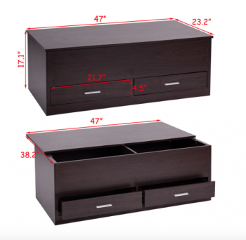 Hidden storage compartments under sliding top of coffee table