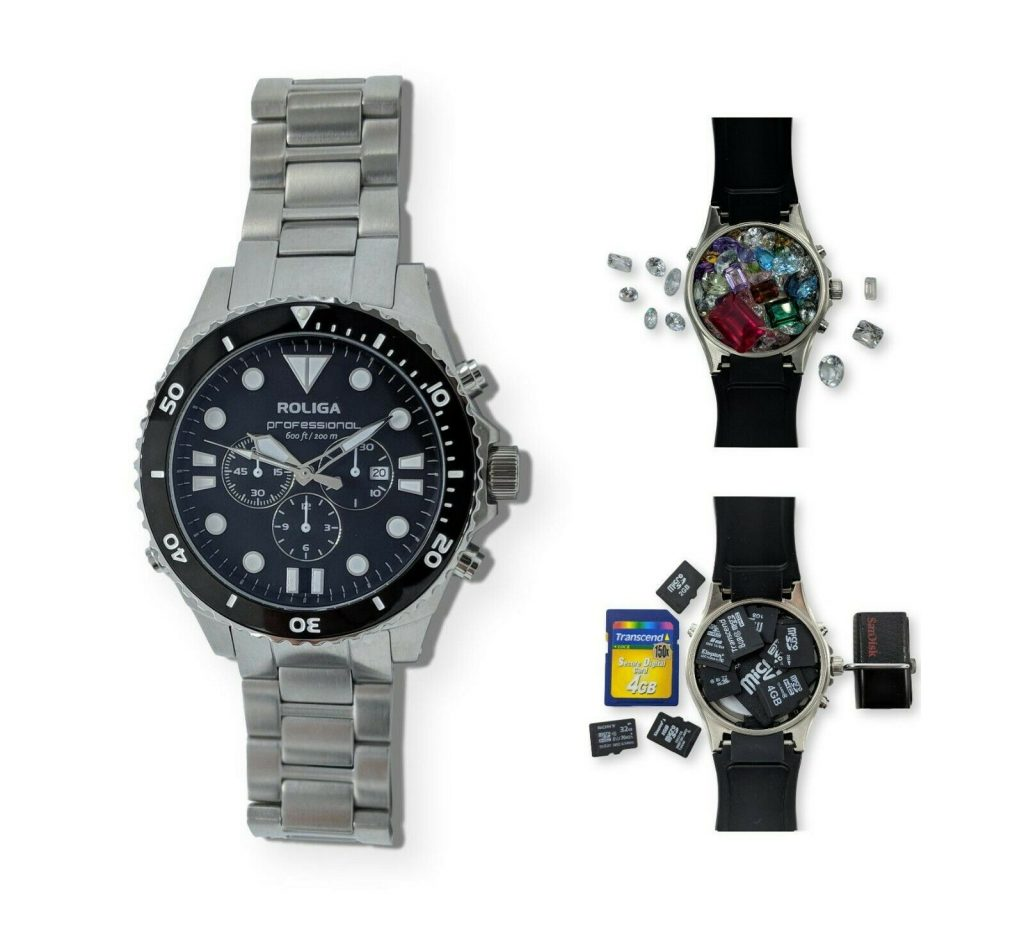 This watch has a removable face that can conceal small valuables discretely.