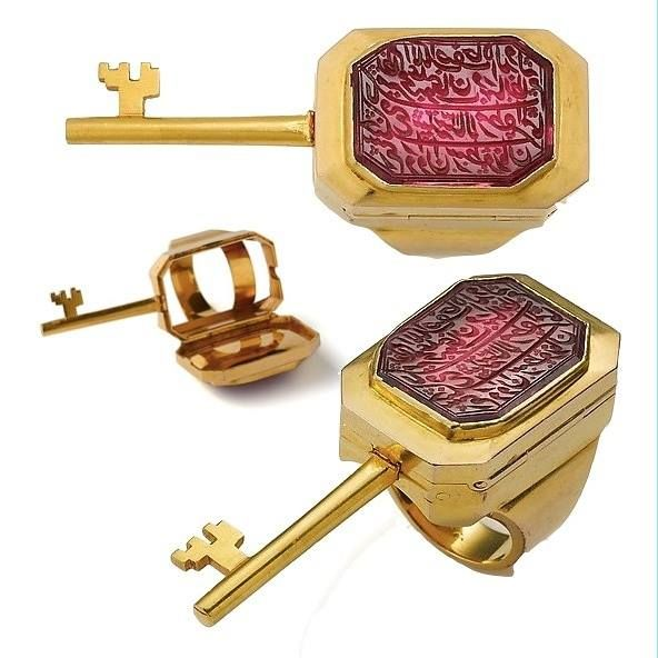 Antique Spinel and Seal Ring with Hidden Key