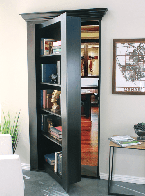 Secret Bookcase Door with Tilting Book Access