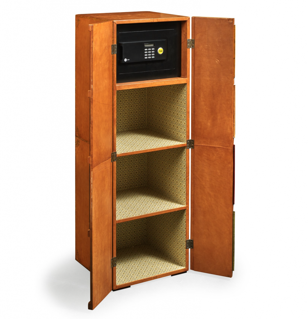 Faux Bookcase Opens To Reveal Hidden Storage and Steel Gun Safe