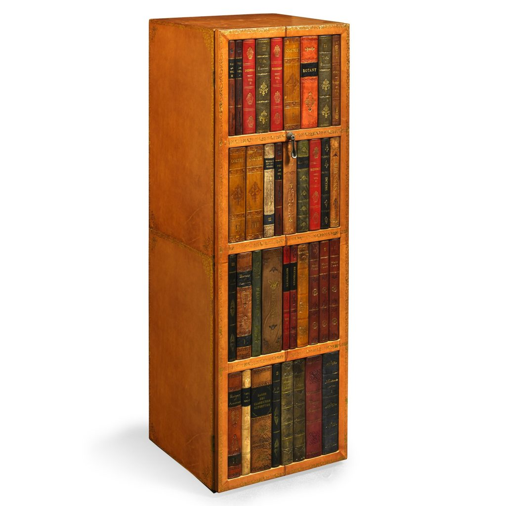 Leather Bound Bookcase Conceals Steel Safe