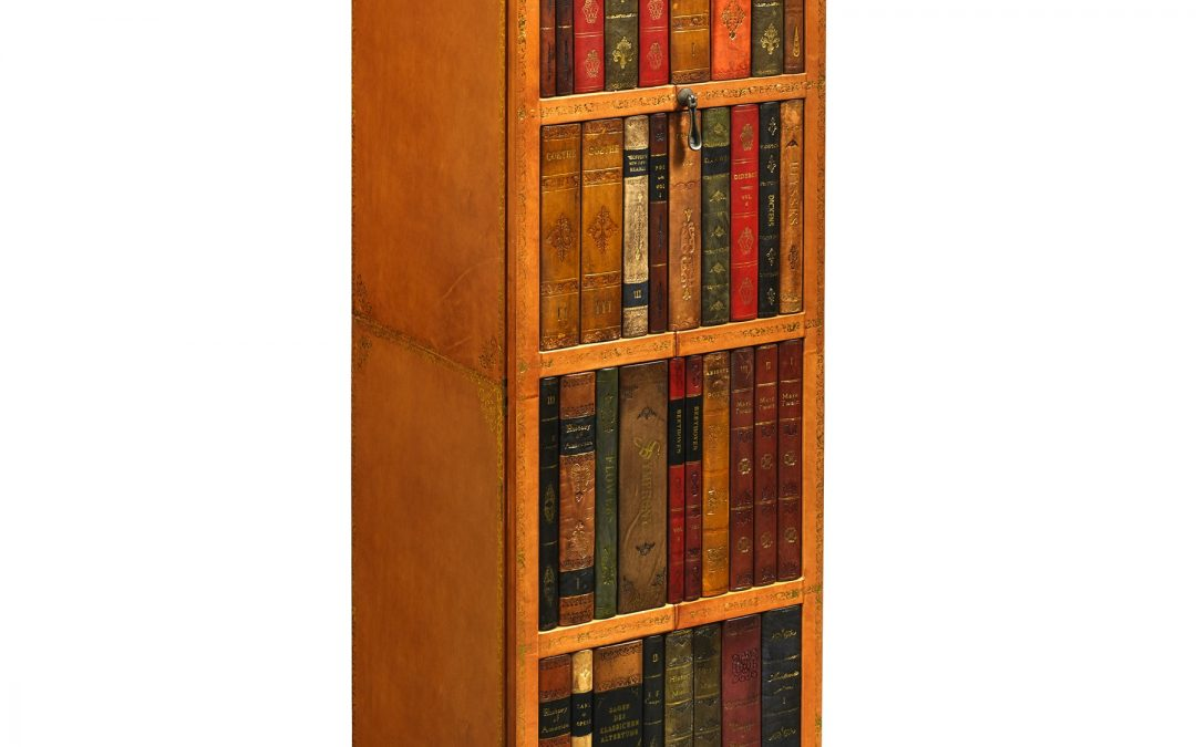 Tall Leather Bookshelf Safe